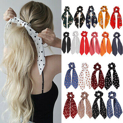 Womens Boho Print Scrunchie Floral Ribbon Elastic Bow Scarf Ponytail Hair Rope
