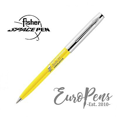 Fisher Space Pen Apollo Ballpoint Pen - 50th Anniversary - Yellow & Chrome UK