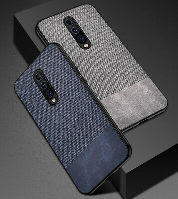 For OnePlus 7/Pro Fabric Cloth Case Shockproof Soft Slim TPU + Leather Cover