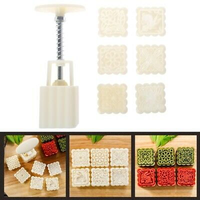 6 Flower Stamps Moon Cake Mould DIY Square Mooncake Mold Baking Decor Tool 50g