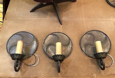 Trio Circa 1930 Frank J. Forster Steel Patinaed Tudor Revival Wall Sconces