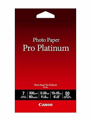 Canon Photo Paper Pro Platinum, 4 x 6 Inches, (80 lbs / 300gsm), 50 Sheets