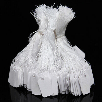 500x White Marking Tags Strung Paper Display Name Labels Clothes Price Tag