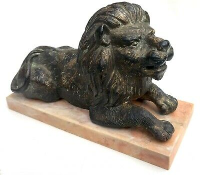 Lovely Antique English School Bronze Of A Lion On Pink Marble / Stone Base