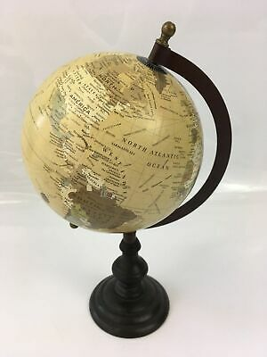 World Globe Brown/Beige on Stand Decorative Ornament Study Office Desk Gift 15cm