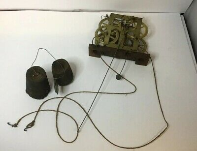 USA, E N WELCH mid-1850s 30-hour brass clock movement With Weights And Pendulum