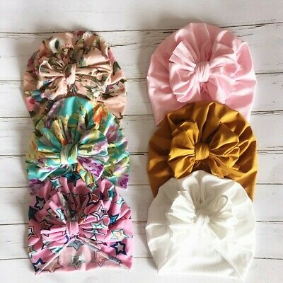 Baby Girl Flower Turban Bow Silky Soft Touch Stretchy Cotton Hat Beanies Infant