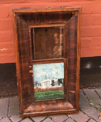 Antique 19th Century Empty  E. N. Welch American Wall Clock Case, Painted Glass