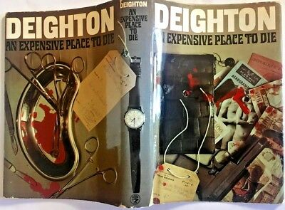 Len Deighton SIGNED - AN EXPENSIVE PLACE TO DIE - UK 1st, Docket, MAKE AN OFFER!