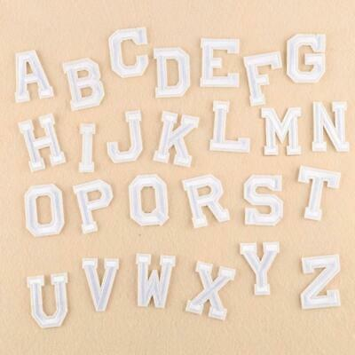 XUNHUI 26 English Letters Patch White Alphabet Word Embroidered Iron on...
