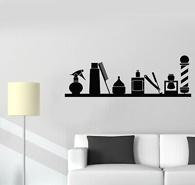 Vinyl Wall Decal Barbershop Classic Haircuts Barber Icon Tools Stickers (g1143)