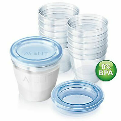 Philips Avent Reuseable Breast Milk Storage Cupx10 Leak-Proof Lid Baby Food Pots