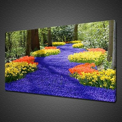 COLOURFUL SPRING FLOWERS IN FOREST CANVAS PICTURE PRINT WALL ART HOME DECOR