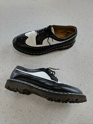 Men's Black White Leather Wing Tip Brogue 3989 Doc Marten