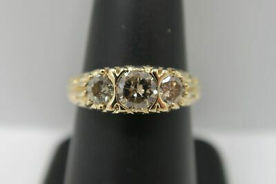 14K Yellow Gold - Natural Fancy Brown Color 1 Carat Three (3) Stone Diamond Ring