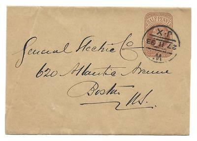 1/2d Queen Victoria Wrapper mailed London to Boston, Massachusetts in 1893