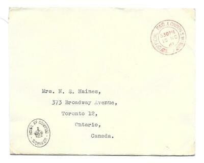 London, England Official Mail 1961 to Canada, House of Commons Speaker Handstamp
