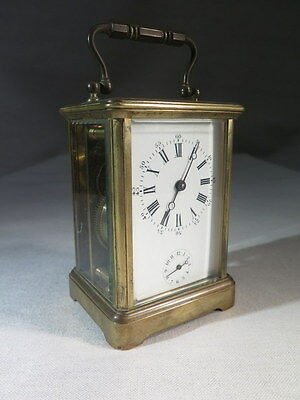 Antique Clock Alarm Clock Travel Brass and Glass Bevel Edge Time End XIX °