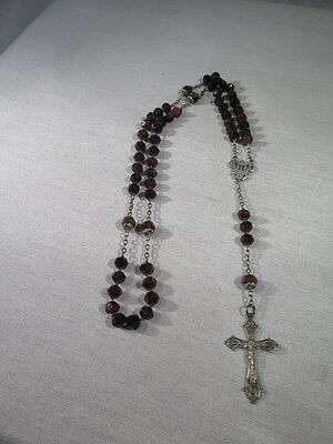 Antique Large Rosary Beads Silver and Jewelry Manner Agate Christ in Cross