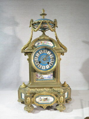 Antique Pendulum Bronze Porcelain Sevres Style Louis XVI Time Second Empire