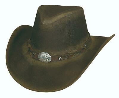 NEW OLD FAITHFUL Olive Top Grain Leather Western Cowboy Hat Bullhide MonteCarlo