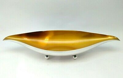 Mid Century Wallace Oval Footed Dish #9013 Silver Plate Orange Interior