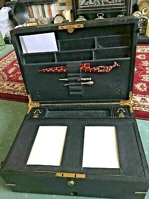 Antique Victorian/Edwardian Ebonised Campaign Travelling Chest Writing Slope