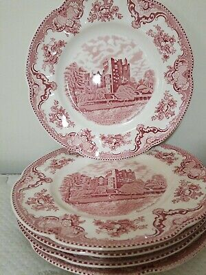 """Lot Of 5 Johnson Brothers Old Britain Castles Red Pink 10"""" Dinner Plates - Nice"""