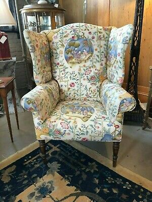 Early 19th Century Antique William IV English Wingback Armchair Chinoiserie