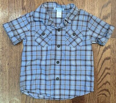 Janie & Jack Rugged Ranch Boys Plaid Button Down Shirt Blue Brown Size 2T