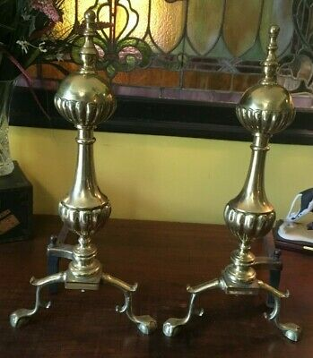 """Pair Of Vintage Heavy Brass & Cast Iron Fireplace Andirons 18.5"""" Tall"""