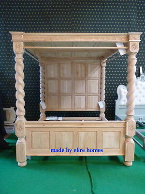 """USA Queen 60""""x80 OAK Raw Unpainted Natural Four poster canopy Tudor Bed 60""""x80"""""""