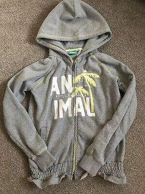 Animal Girls Grey Zip Up Hoody VGC Ages 12-13 Years