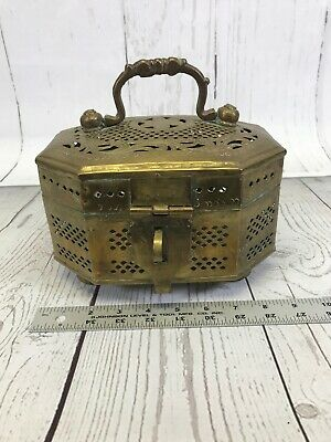 Collectible Unique Vintage Solid Brass Treasure Chest Jewelry Trinket Box