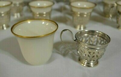 7 - Lenox & Sterling Silver  Demitasse Cups W/ Holders