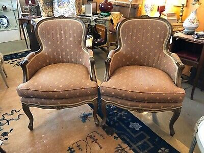 Pair of Early 20th Century Vintage Louis XV Style Walnut Bergere Chairs