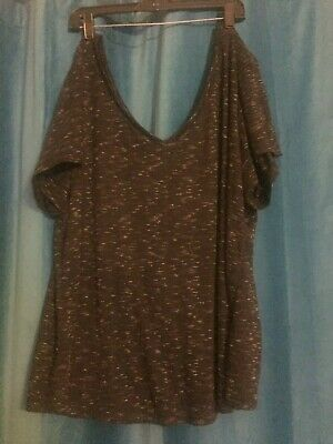 Torrid  V-Neck Top Size 4 (4x) Black heathered shirt blouse 4xl