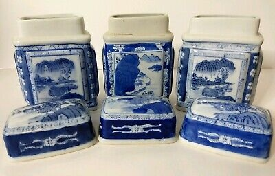 3 Asian Tea Canisters Jars - Raised Panel Vintage Chinese Caddy - Beautiful