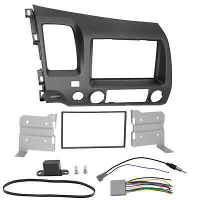 Taupe Radio Stereo Dash Set + Wiring Harness Double Din For Honda Civic 06-11 US