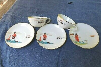 5 BACON RIND BY ACEE BLUE EAGLE 2 Cups and 3 Saucers BY KNOX Fine China Japan