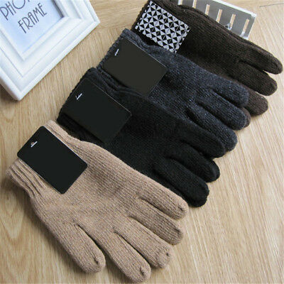 Autumn & Winter Men's Knitted Gloves Male Thicken Wool Mittens Thermal Gloves