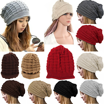 Knit Hats Baggy Beanie Slouchy Winter Mens NEW Beret Oversized Womens Plicate
