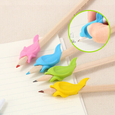 3X Two-finger Grip Silicone Dolphin Shape Kids Pencil Holder Learn Writing Tool
