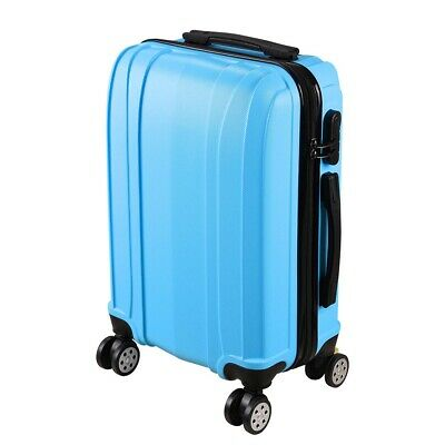 """20"""" Blue Cabin Hand Luggage Suitcase ABS 4 Wheeled Travel Hard Case Trolley Bag"""