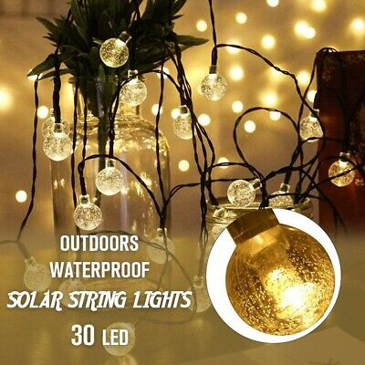 30 LED Solar Powered Garden Party Fairy String Crystal Ball Lights Outdoor new