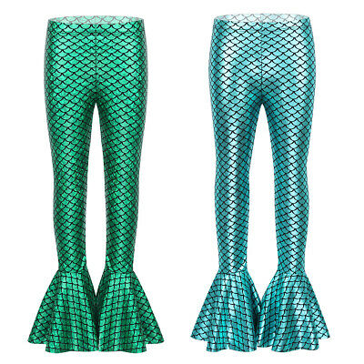 Kids Girls Mermaid Pants Flared Frill Trousers Shiny Fish Scales Bell Bottoms