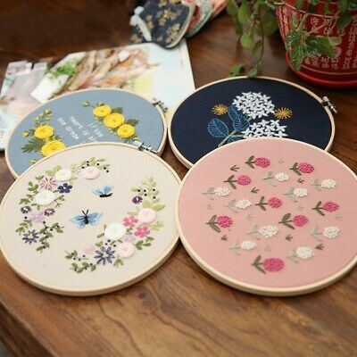 DIY Ribbons Embroidery Needlework Kits W/ Embroidery Hoop Cross Stith Crafts