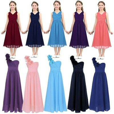 Flower Girls Dress Princess Party Wedding Bridesmaid Formal Prom Long Maxi Gown