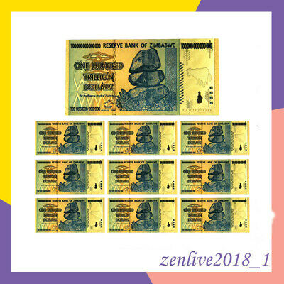 10x Gold Zimbabwe 100 Trillion Dollars Banknote Foil Bill World Money Collect