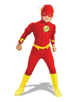 The Flash Muscle Chest Outfit Fancy Dress Costume Superheroes Kids Boys